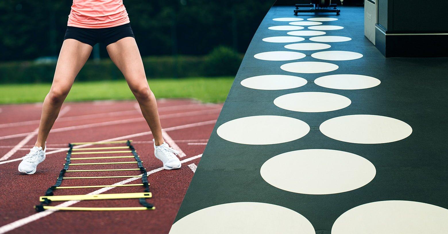 Speed ladders and hopscotch - Schnelligkeitsleitern und Hüpffelder - Echelles de rythme et marelle - EVO Fitness