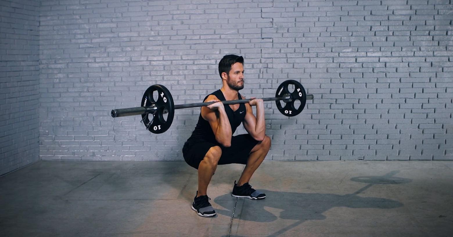barbell front squat - Squat avant avec haltère - Langhantel Front-Kniebeuge - EVO Fitness