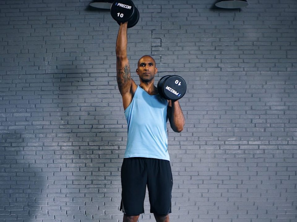Alternate dumbbell shoulder press -